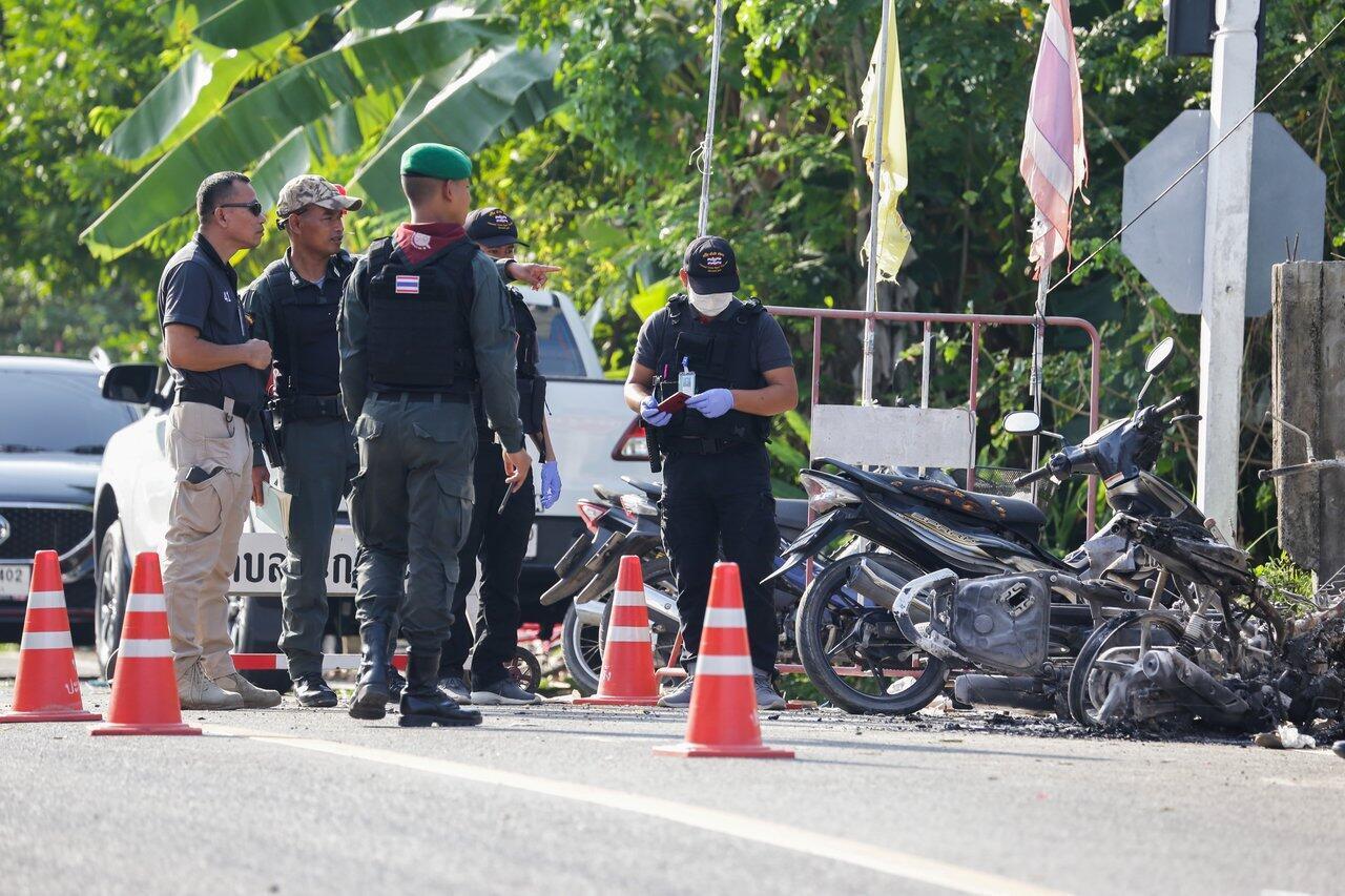 La police en pleine enquête après l'attaque. Province de Pattani, sud de la Thaïlande, ce mercredi 24 juillet 2019.