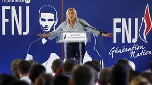 Marine Le Pen at the party's weekend summer university youth meeting in Frejus