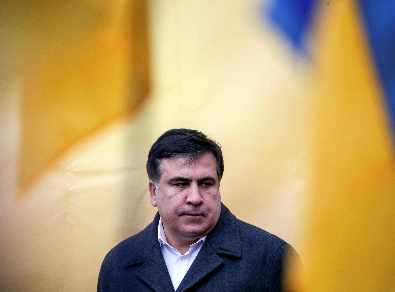 Бывший президент Грузии Михаил Саакашвили на митинге в центре Киева, 27 ноября 2016.