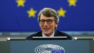 Chủ tịch tân cử của Nghị Viện Châu Âu David-Maria Sassoli phát biểu sau khi được bầu. Strasbourg, Pháp, 03/07/2019.