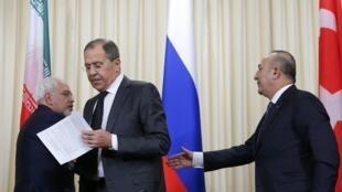 Главы МИД Ирана, России и Турции в Москве, 20 декабря 2016 г.
