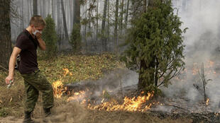 A soldier at a forest fire in Beloomut, some 130 kilometres from Moscow