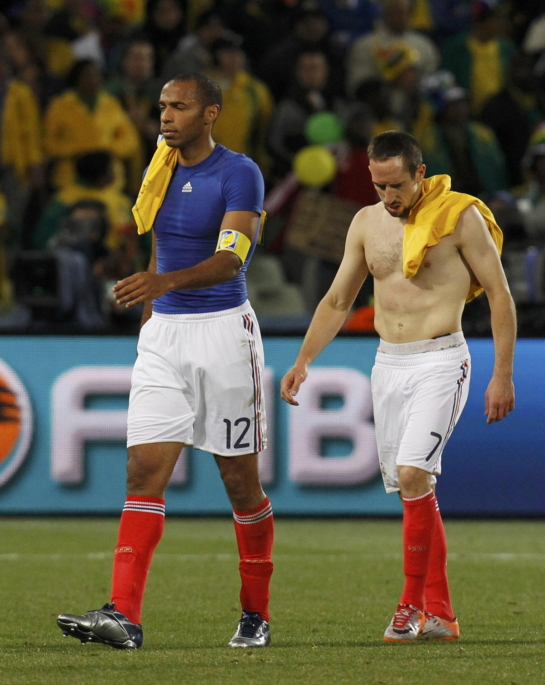 Ribery leaves the pitch after loss to South Africa during 2010 World Cup, Bloemfontein, 22 June