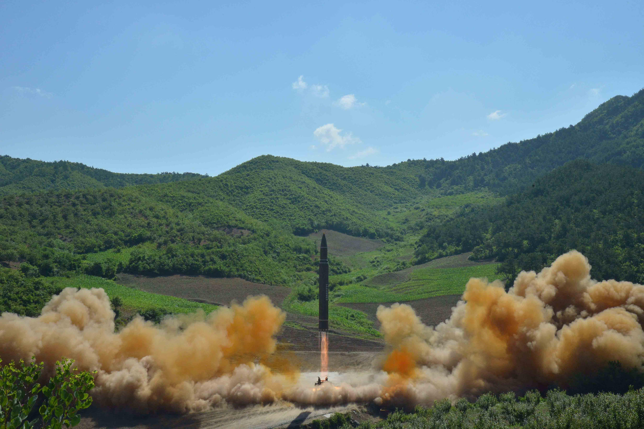 Official North Korean images of a reported intercontinental ballistic missile test on 4 July 2017.