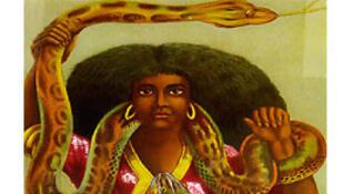 Cette chromolithographie de l'artiste Arnold Schleisinger (1926) est devenue une image couramment utilisée en Afrique et dans la diaspora pour représenter Mami Wata.