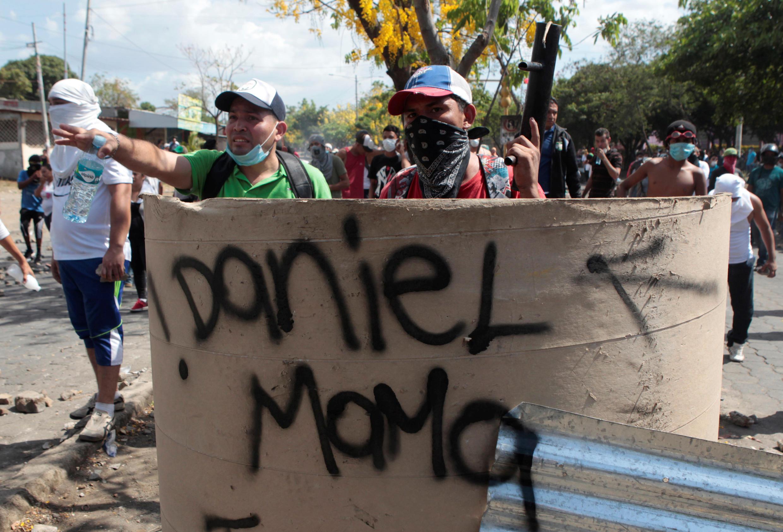 (illustration) Pendant les émeutes lors des manifestations contre le projet des retraites, le 21 avril 2018 à Managua au Nicaragua.