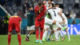 La joie des Italiens après leur victoire, 2-1 face à la Belgique, en quart de finale de l'Euro 2020, le 2 juillet 2021 à Munich