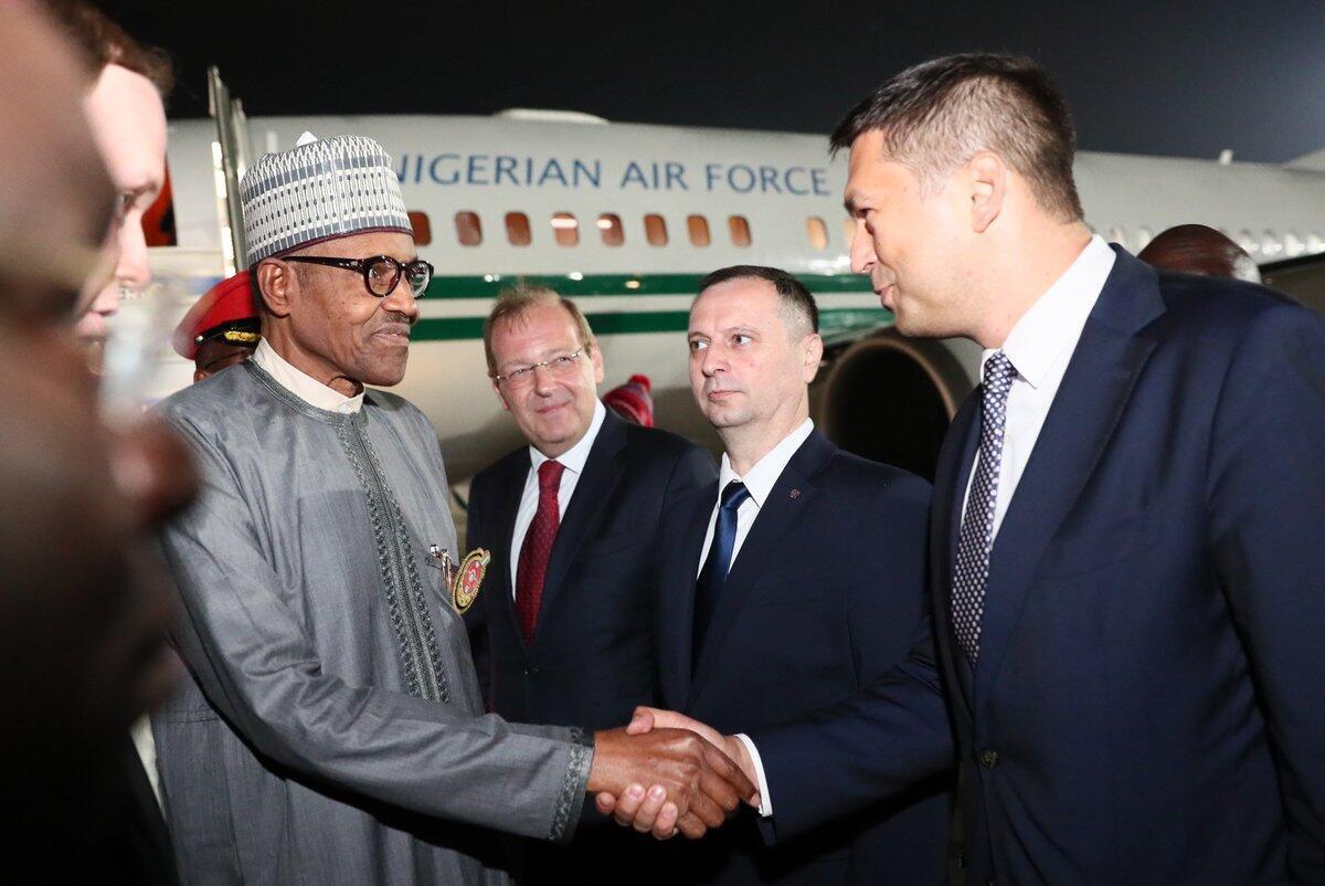 Nigerian President Muhammadu Buhari arriving Sochi for Russia-Africa summit, 22nd October, 2019