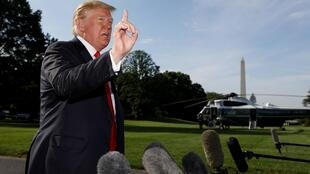 Rais wa Marekani, Donald Trump akizungumza nje ya ikulu ya Washington. Tarehe 30/05/2019