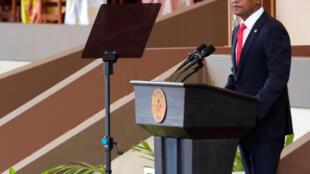 Tân tổng thống Maldives, Ibrahim Mohamed Solih, phát biểu sau khi tuyên thệ nhậm chức, ngày 17/11/2018.