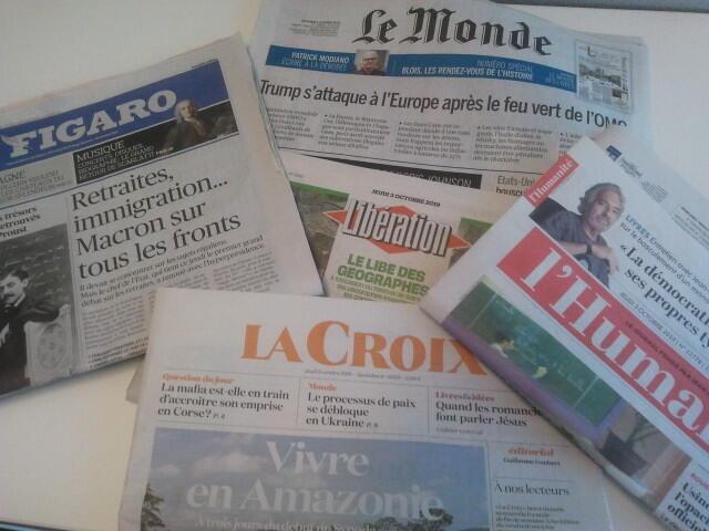Primeiras páginas dos jornais franceses 03 de outubro de  2019