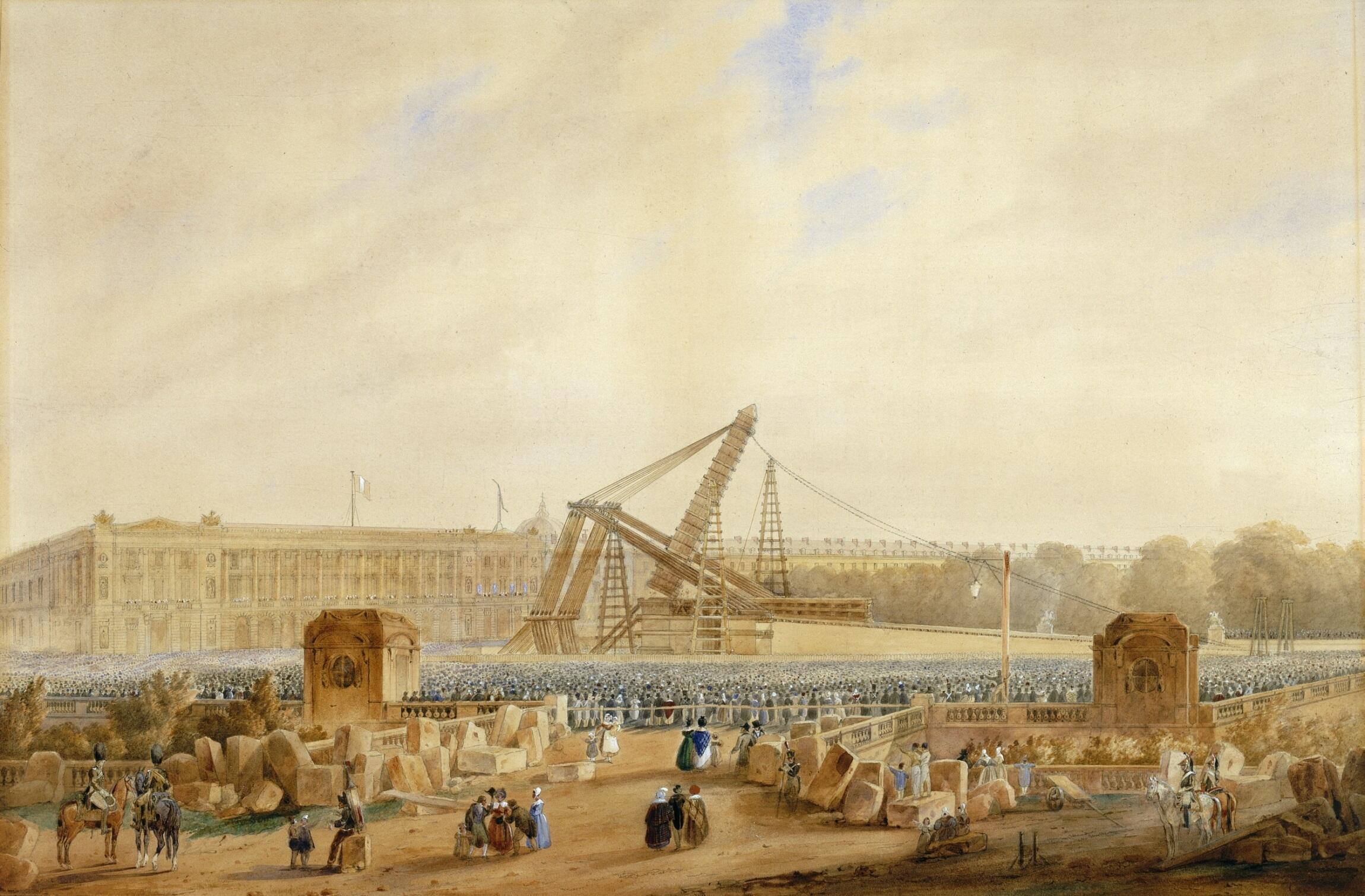 Aquarelle représentant l'érection de l'obélisque de Louxor, le 25 octobre 1836 (Cayrac, 1837).