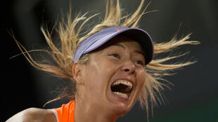 Tennis - WTA - Madrid Open - Maria Sharapova of Russia v Eugenie Bouchard of Canada - Madrid, Spain - 8/5/17 - Sharapova serve