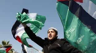 A unity rally in Gaza City, 15 March 2011