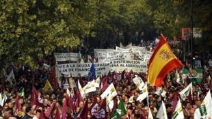 Des manifestants réclament de l'aide pour le secteur agricole, à Madrid, le 21 novembre 2009.