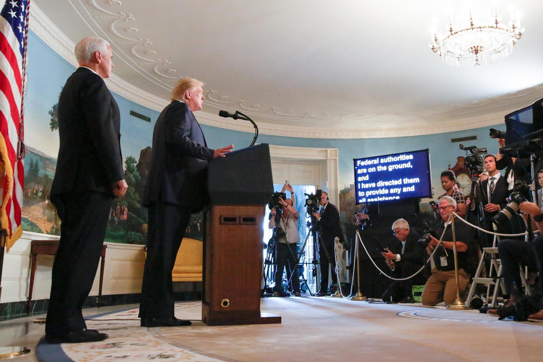 Le président Donald Trump en conférence de presse à la Maison Blanche juste après les fusillades de Dayton et de El Paso, le 5 août 2019.