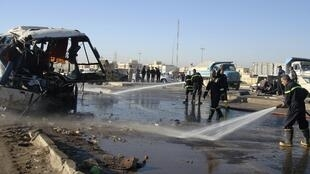 Место, где  3 декабря перевернулись два автобуса с шиитскими паломниками, в результате чего  погибли 17 человек и 53 получили ранения