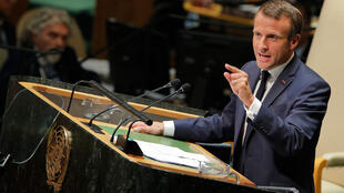 Le président français Emmanuel Macron prend la parole devant la 74e session de l'Assemblée générale des Nations unies à New York, le 24 septembre 2019.