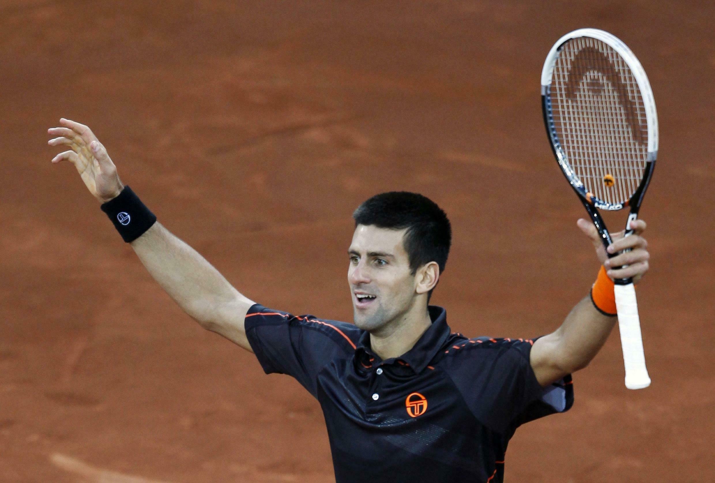 Djokovic  celebra  recente  vitoria sobre Rafael Nadal  em Madrid