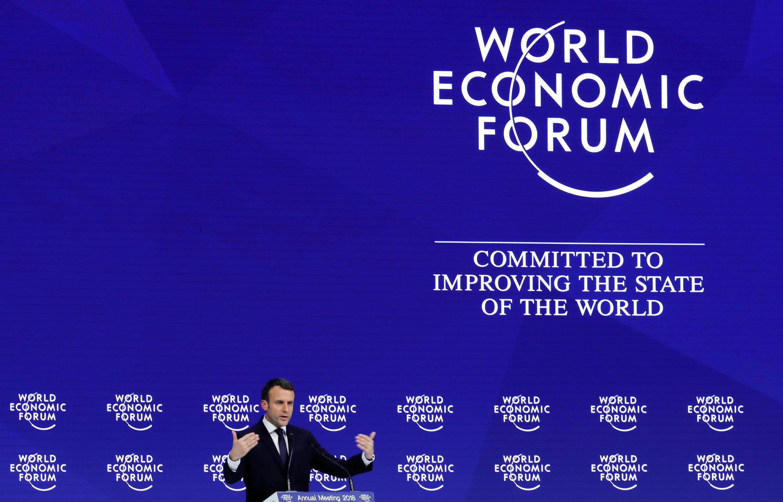 Le président français Emmanuel Macron à Davos le 24 janvier 2018.
