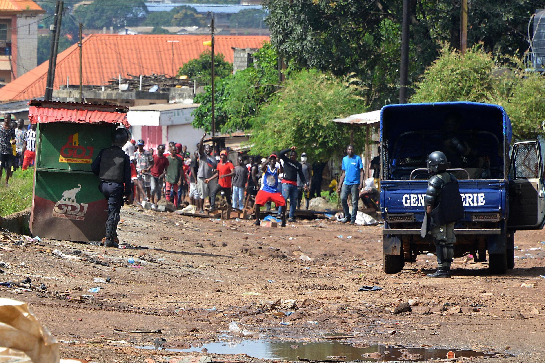 Manifestation à Conakry, le 14 octobre 2019, à l'appel du FNDC, rapidement dispersée par les forces de l'ordre.