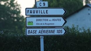 Road signs near the airbase 105  in Evreux where the suspect prepared an attack
