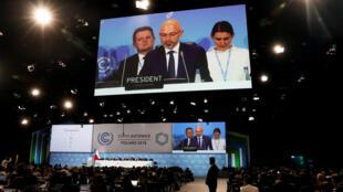 El presidente Michal Kurtyka durante su discurso de cierre de la COP24. Katowice, Polonia, 15 de diciembre de 2018.