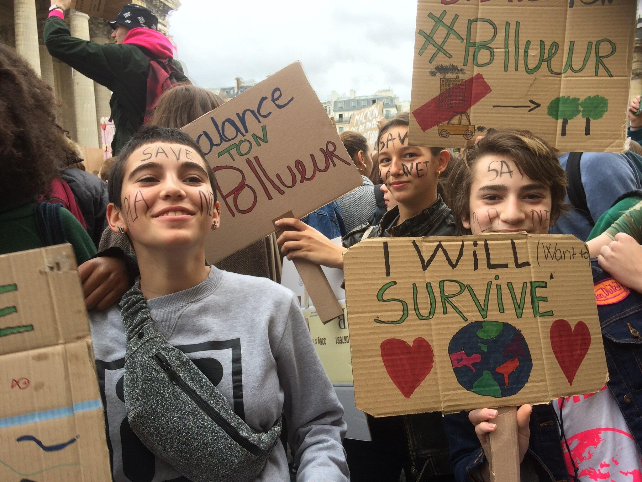French teenagers out in full force on the streets of Paris