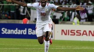 Burkina Faso's Alain Traoré celebrates his goal during their match against Nigeria in Nelspruit,  21 January