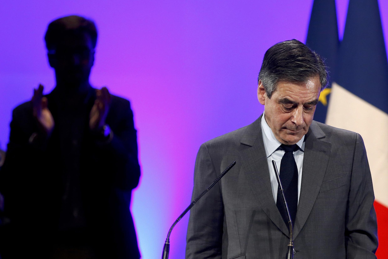 Ông Francois Fillon trong một cuộc mít tinh tranh cử ở gần Poitiers, 09/02/2017.