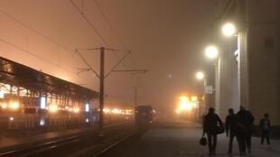 La gare de Brest, principal point d'entrée dans l'Union européenne pour les migrants de l'espace post-soviétique, en octobre 2019.