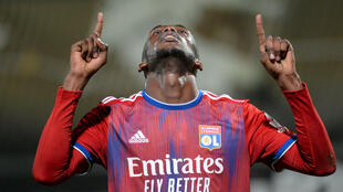 L'attaquant zimbabwéen Tino Kadewere fête son but lors du match de Ligue 1 à Angers, le 22 novembre 2020