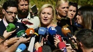 Inés Madrigal (centre) lors du procès des «bébés volés», en octobre 2018.