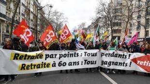 Manifestantação em Paris contra a reforma do sistema de pensões. Janeiro 2020