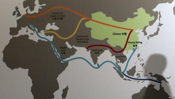 Carte de la «nouvelle route de la soie» chinoise aussi appelée «la ceinture et la route».