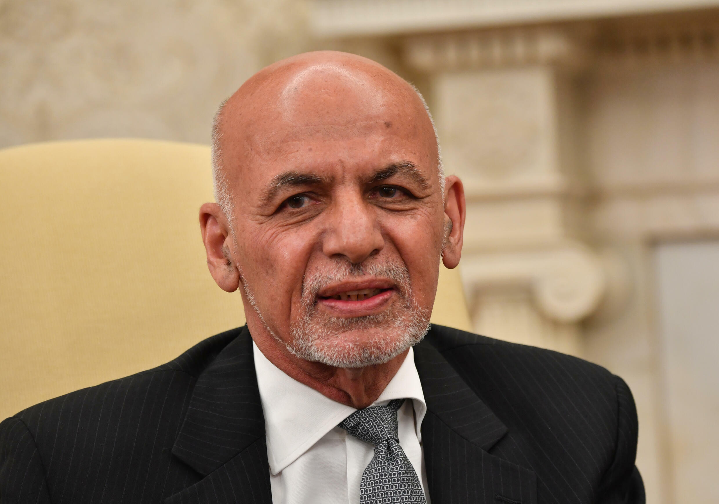 Ashraf Ghani speaks during a meeting with US President Joe Biden at the White House in this file picture taken on June 25, 2021