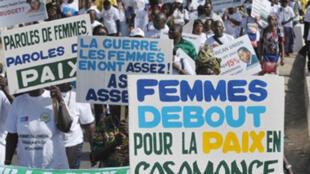 Début février 2011, lors du Forum social mondial à Dakar, les femmes de Casamance manifestaient pour la paix.
