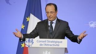 El presidente François Hollande pronunció un discurso al final de la reunión del Consejo Estratégico para la Competitividad, el 17 de febrero, en el palacio del Elíseo.
