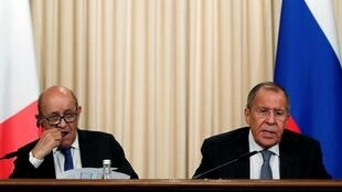 Главы МИД Франции и России Жан-Ив Ле Дриан Сергей Лавров на итоговой пресс-конференции в Москве 9 сентября 2019