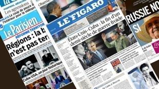 Capa dos jornais franceses Le Figaro, La Croix, Libération, Le Monde, Le Parisien desta quinta-feira, 18 de dezembro de 2014.