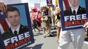 Manifestación de apoyo a Bradley Manning el pasado 1° de junio en Fort Meade, Maryland.