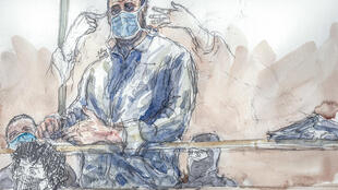 This court sketch created on October 26, 2020, shows defendant Ali Riza Polat.