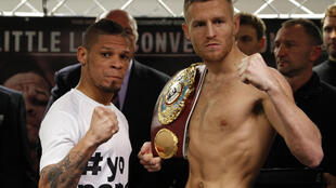 Orlando Cruz (left) and Terry Flanagan pose during the weigh in for the world lightweight boxing title match.