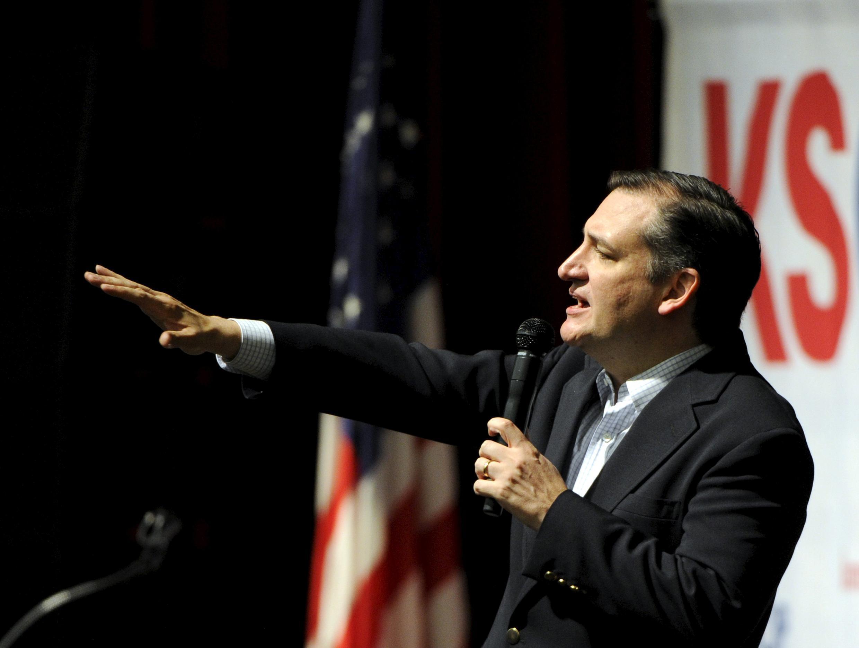 O pré-candidato republicano, Ted Cruz, durante discurso em Wichita, no estado do Kansas.