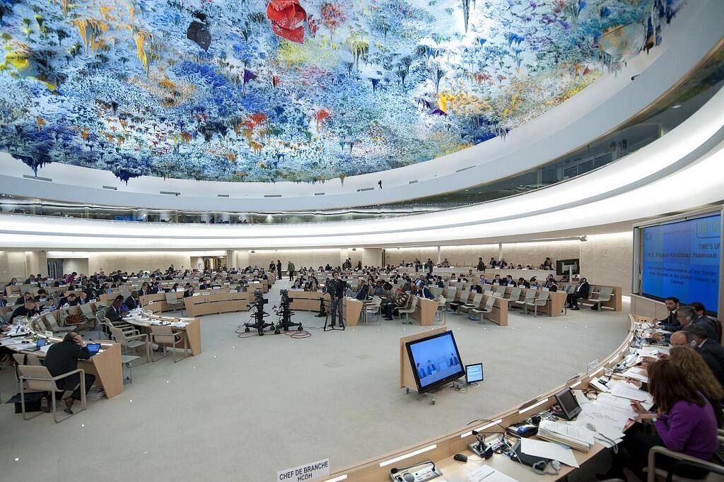 资料图片:2019年11月,日内瓦人权理事会会议会场。
