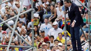Juan Guaido, lors d'un rassemblement organisé par ses partisans contre le gouvernement du président Nicolas Maduro, le 4 mars 2019, à Caracas.
