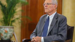 Pedro Pablo Kuczynski durante una entrevista televisiva, el 17 de diciembre de 2017 en el Palacio de Gobierno de Lima.
