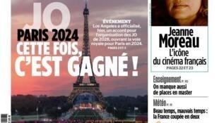 Capa do jornal Aujourd'hui en France desta terça-feira (01), que comemora a provável realização dos Jogos Olímpicos de 2024 em Paris.