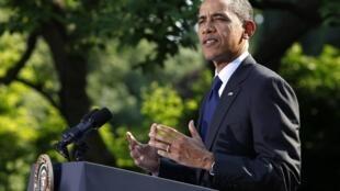 美國總統奧巴馬在白宮花園發表演講 2012年5月3日