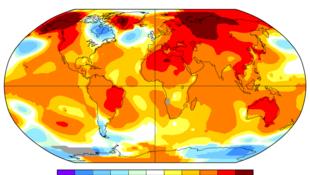 Mức tăng nhiệt độ toàn cầu tháng 4/2016.